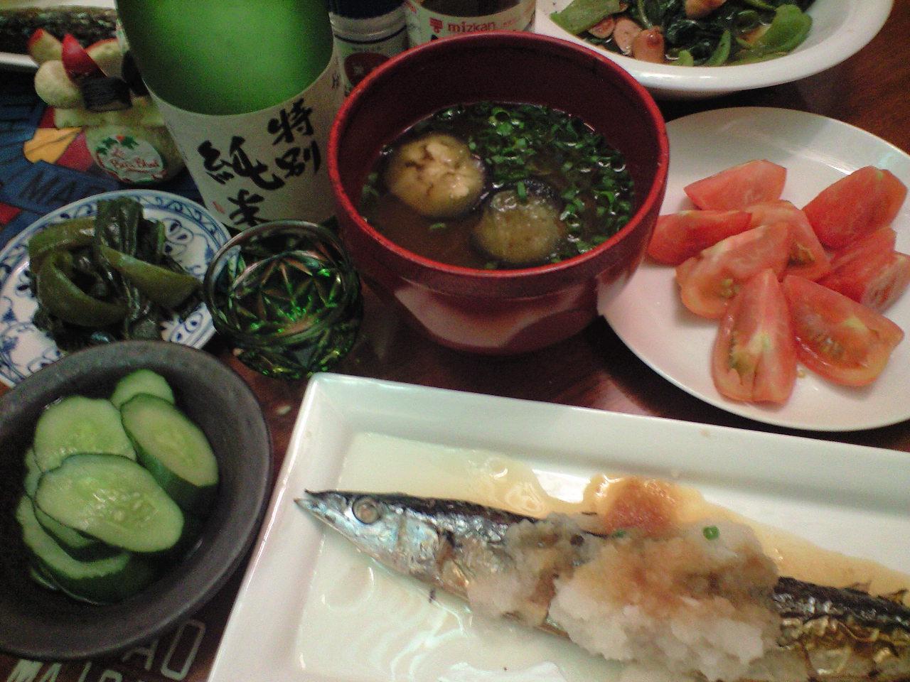 日本の夏、サンマと夏野菜と、日本酒で乾杯〜!