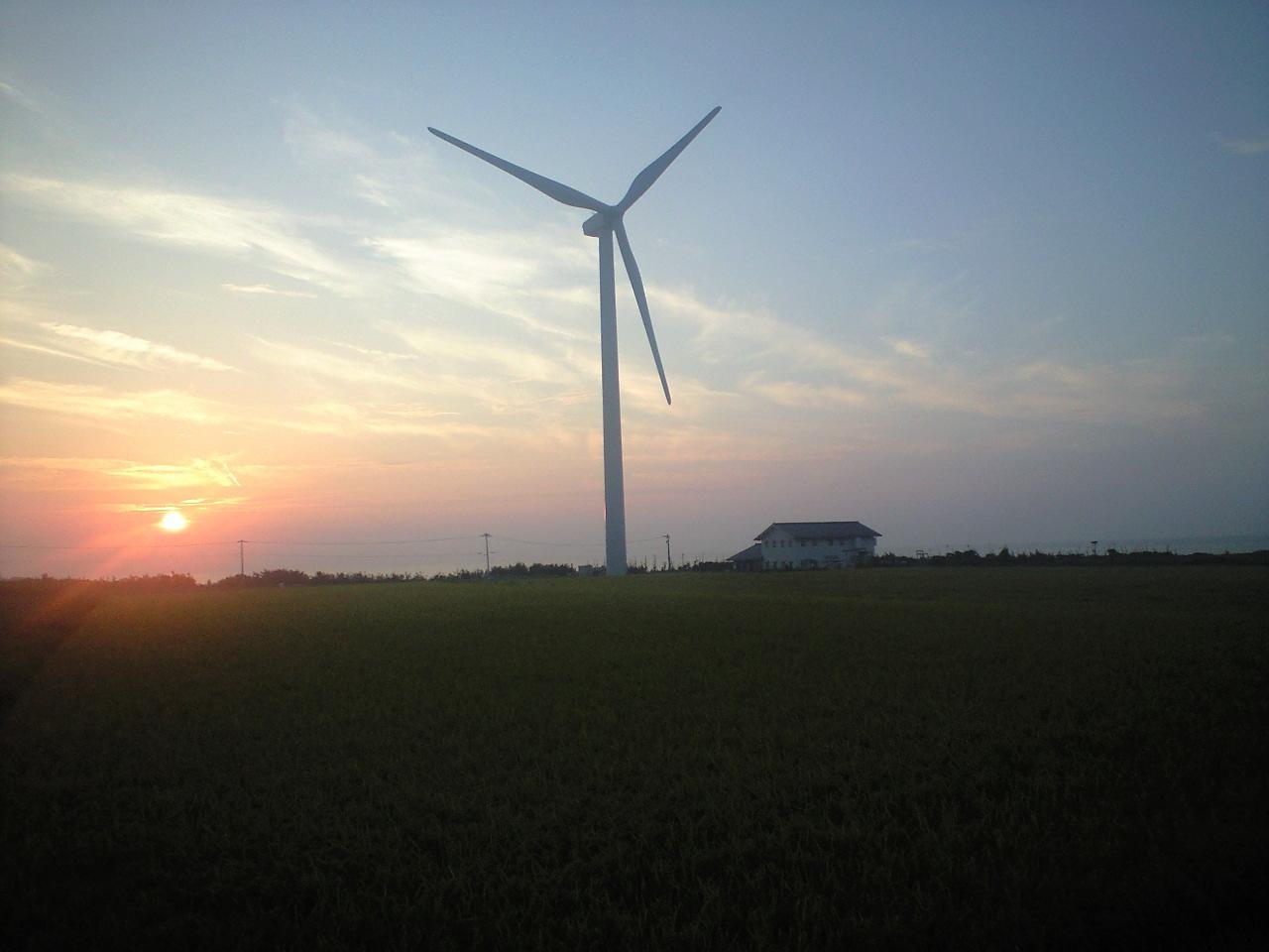 風車と夕日と稲穂と